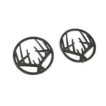 Set of 2 Black Enamel Cast Iron Deer Antler Kitchen Trivets Lodge Decor