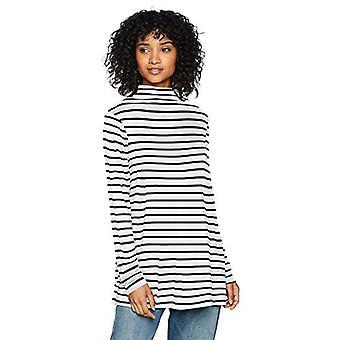 Marke - Tägliche Ritual Frauen's Jersey Mock-Neck Swing Tunika, weiß-Navy Streifen, klein