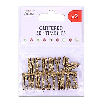 Simply Creative Christmas Glittered Sentiment Gold (2pcs) (SCTOP055X19)