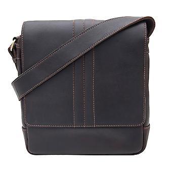 Primehide Mens Små Läder Messenger Crossbody Väska Tablet Bag Gents 5840
