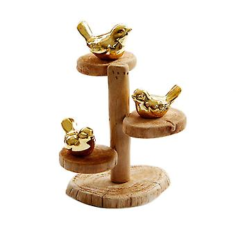 Creative Tree Three Birds Shape Wood Craft Desktop Decoration