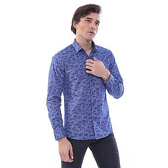 قميص أزرق منقوش من الزهور | wessi