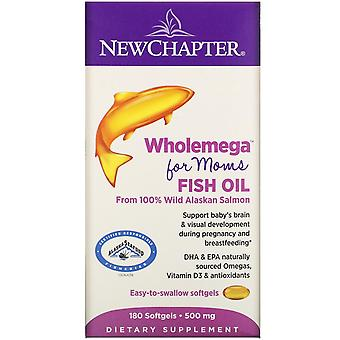New Chapter, Wholemega for Moms Fish Oil, From Wild Alaskan Salmon, 500 mg, 180