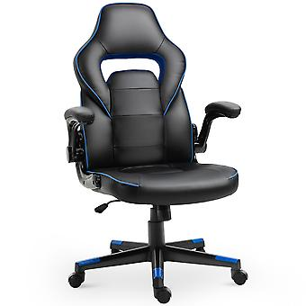 Vinsetto PU Leather Racing Style Gaming Office Chair Ergonomic Adjustable Height Arms 360° Swivel Rolling Black Blue
