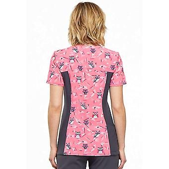 Cherokee V-Neck Knit Panel Scrub Top, S, We're Owl in Line