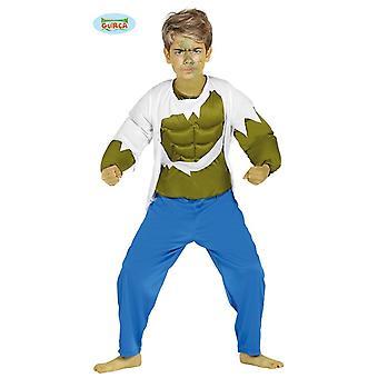 Fantasia de super herói verde músculo para crianças de cientista louco