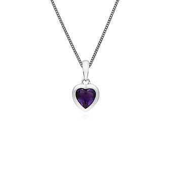 Essential Heart Shaped Amethyst Pendant Necklace in 925 Sterling Silver 270P028701925