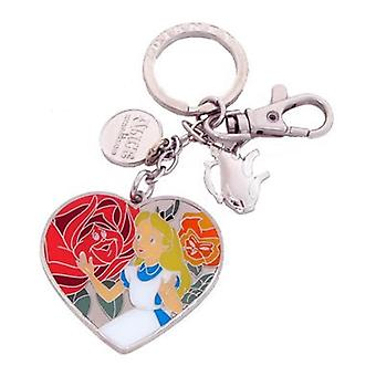 Metal Key Chain - Disney - Alice in Wonderland - Flowers Pewter  25202