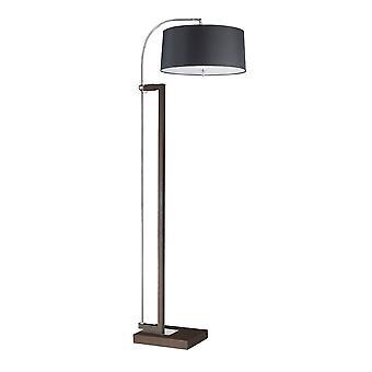 3 Light Floor Lamp Chrome, Brown with Black Shade, E27