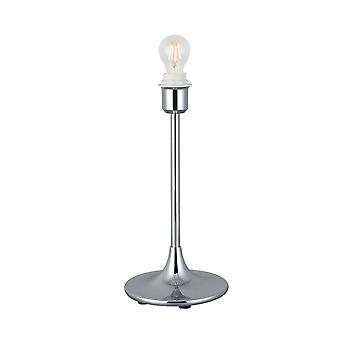 Inspired Deco - Crowne - Round Curved Base Table Lamp without Shade, Inline Switch, 1 Light E27 Polished Chrome