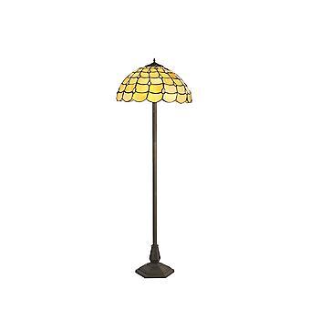 Éclairage Luminosa - 2 lampe de plancher octogonale légère E27 avec 40cm Tiffany Shade, Beige, Cristal clair, Laiton Antique Vieilli