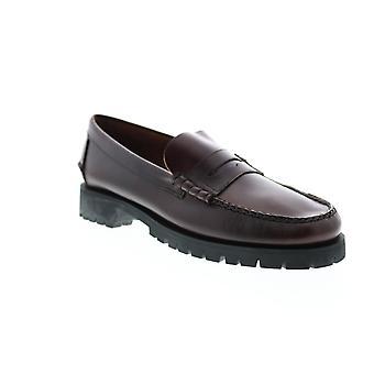 Sebago Dan Waxy Lug Mens Red Wide Loafers & Slip Ons Penny Schoenen