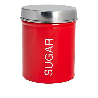Contemporary Sugar Canister - Steel Kitchen Storage Caddy with Rubber Seal - Red