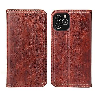Para iPhone 12 mini caso PU cuero Flip cartera protectora cubierta Kickstand Brown