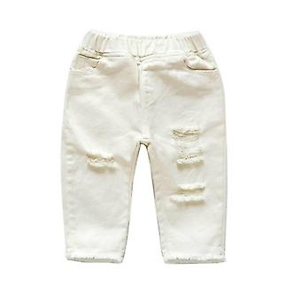 Mid-waist Casual White Denim Jean,