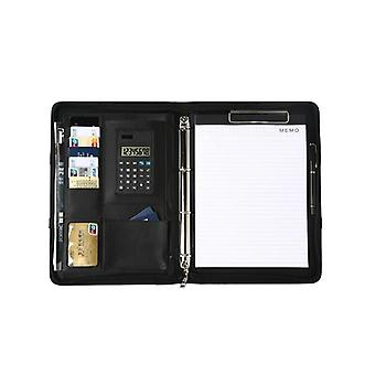 A4 Leather Office Document Folder- Multifunctional Business Portfolio Padfolio