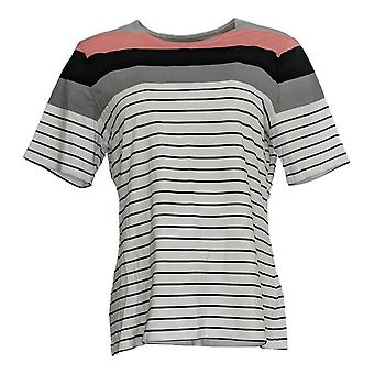 Denim & Co. Women's Top Active Striped Perfect Jersey Black A354171