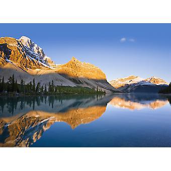 Bow Lake And Crowfoot Mountain At Sunrise Banff National Park Alberta PosterPrint