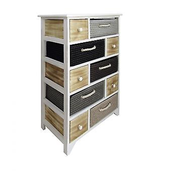 Rebecca Furniture Chest of Drawers 10 Wicker Drawers Modern White Wood 88x56x32