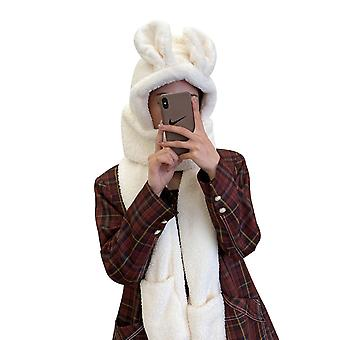Simple And Cute Three-in-one Multifunctional Cartoon Rabbit Ear Lamb Fur Hat, Hat, Scarf And Gloves Combination Outfit