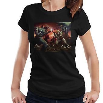 Masters of the Universe Skeletor Vs Han Man Cinematic Shot Women's T-Shirt