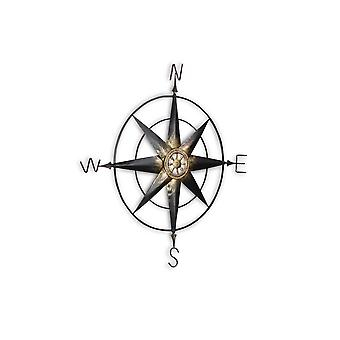 Black Metal Wall Decor Compass with Gold Center Accents