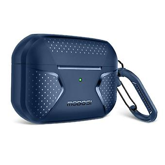MOBOSI Shockproof Case for AirPods Pro with Carabiner - AirPod Case Cover Skin - Blue