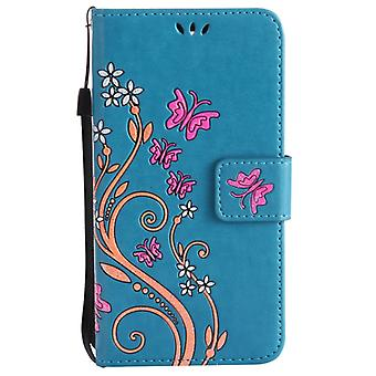 Pour Huawei P10 Painted Butterfly Pattern Horizontal Flip Leather Case with Holder & Fentes de carte & Portefeuille & Lanyard (Bleu)