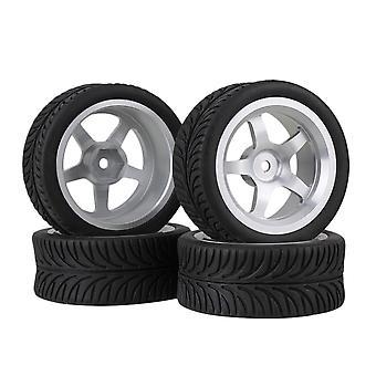4 x Silver 5-Spoke Aluminum Wheel Rims +4 x Black Leave Rubber Tyres for RC1:10