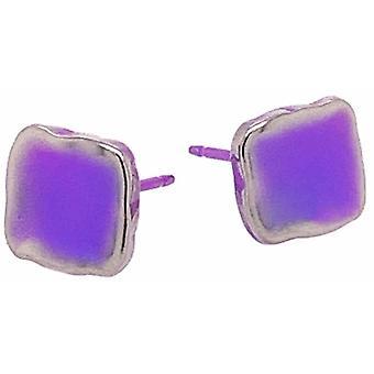 Ti2 Titanium Squashed 8mm Square Stud Earrings - Light Blue