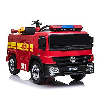 Fire Truck 12V Ride-On Toy Motorized Truck w/ Remote Control,Water Pistol, & Fire Extinguisher