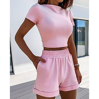 Women Summer O-neck Casual Crop Top Female Clothing Tracksuit Pockets Loose