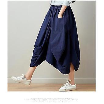 Nowe spódnice letnie Casual Plaid Bud Kieszenie plisowane do kolan naturalne