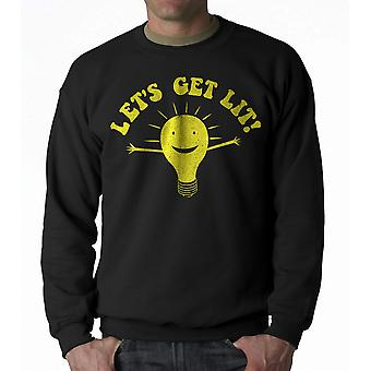 Humor Let's Get Lit Men's Black Sweatshirt