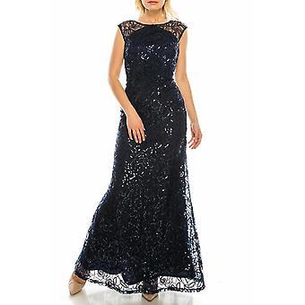 Evenings Sequined & Appliqued Illusion Evening Dress