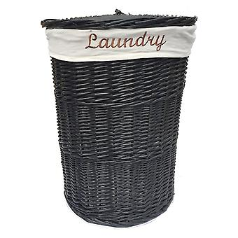 Round Wicker Laundry Basket With Liner And Lid
