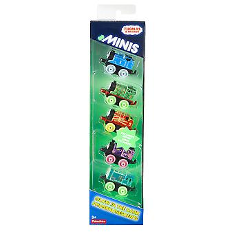 Thomas & friends drl94 minis glow in the dark set of 5 trains, multicolour