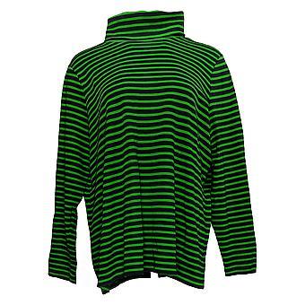 Isaac Mizrahi Live! Women's Top Stripe Knit Turtleneck Green A386141