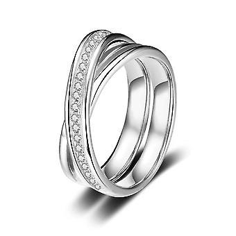 Anillo de plata esterlina zirconia compromiso de boda en forma de cruz