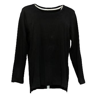 Isaac Mizrahi En direct! Women's Top Long Sleeve Jersey Noir A389762