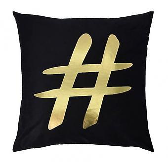 pillow hashtag 45 x 45 cm textile black/gold