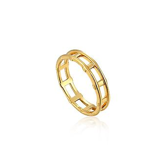 Ania Haie Sterling Silver Shiny Gold Plated Modern Bar Ring R002-02G