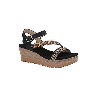 Cipriata Cinzia Ladies Platform Wedge Sandals Black Leopard Print