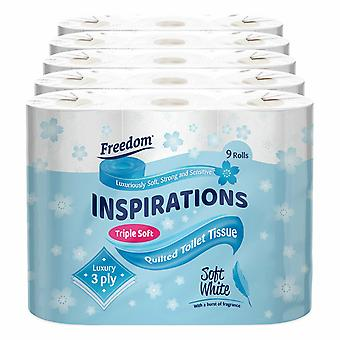 45 Rolls Freedom Inspirations Quilted White 3 Ply Toilet Paper