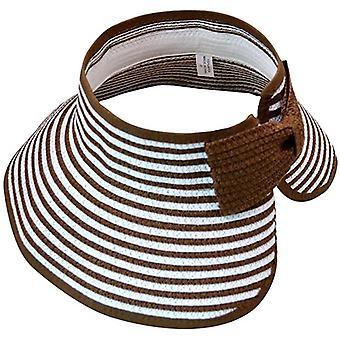 Solcreme stråhat (one size) Brun/hvid stribet