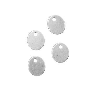 Endelig Salg - Sterling Silver Blank Charms Oval Pailettes smykker Tags 7.5x6.5mm (4)
