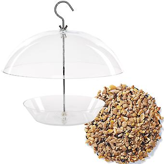 1 x Simply Direct Clear Tray Bird Feeder Large Adjustable Protective Dome with 1KG Bag of Mixed Seed Feed