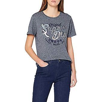 Superdry Mock Pailletten Entry T-Shirt, Blau (gewaschen Denim FL2), L (Größe Hersteller:14) Damen