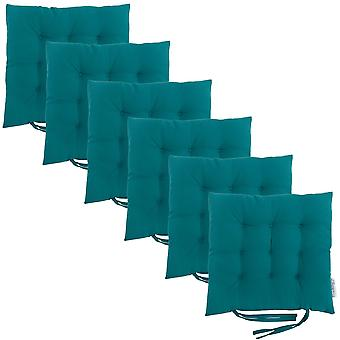 Green 6pk Square Seat Pad Dining Room Garden Patio Tufted Padded Chair Cushion with Ties