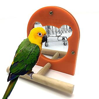 Acrylic Bird Mirror Parrot Toy Stand Stick